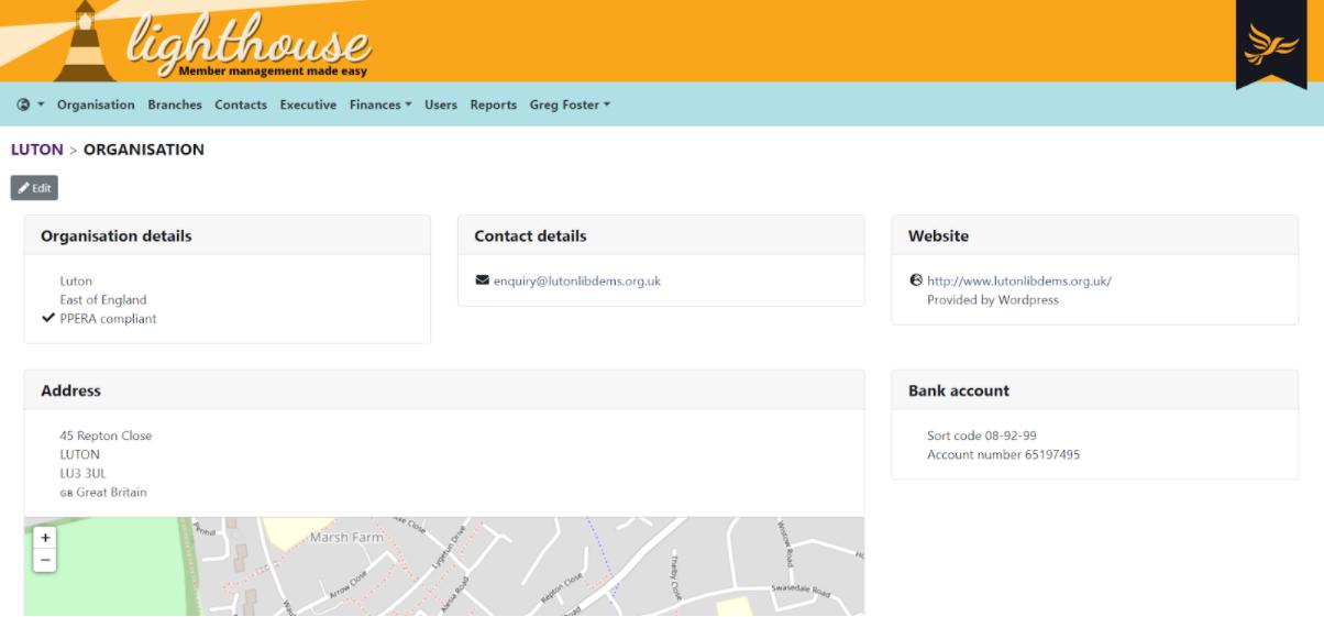 Organisation page on Lighthouse, organisation details, contact details, address, website and ban details displayed