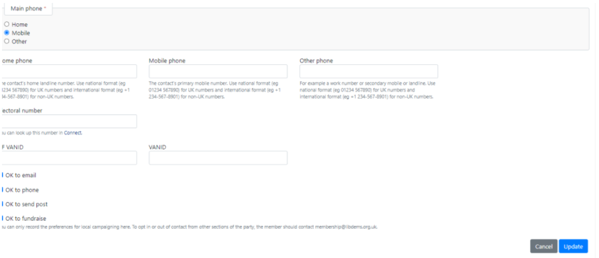 Edit contact page, update or cancel