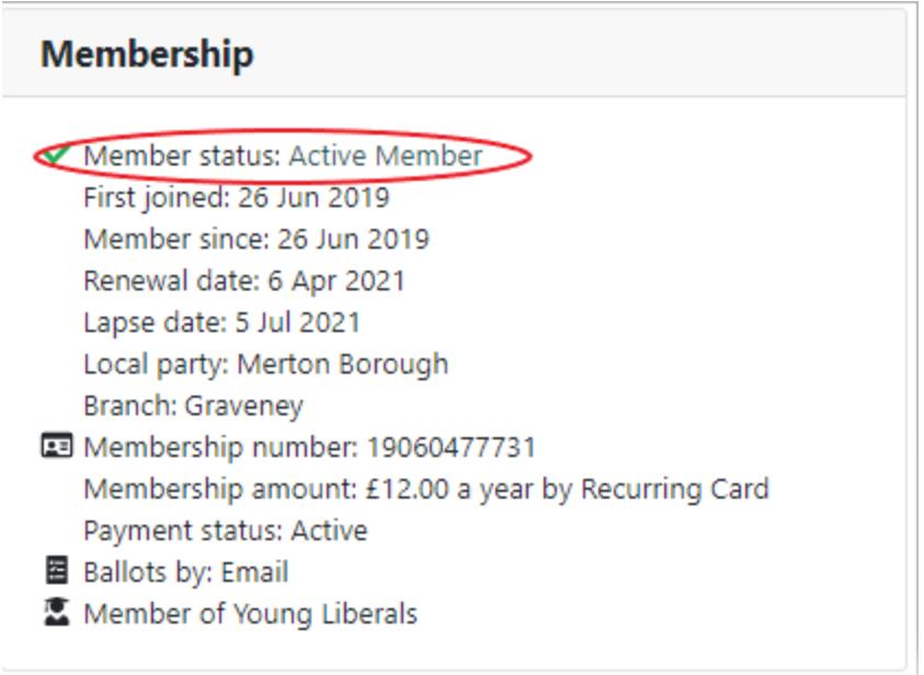Membership record with active member status circled