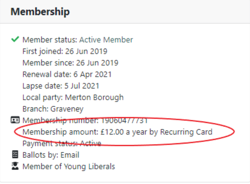 Membership information with membership amount and type circled