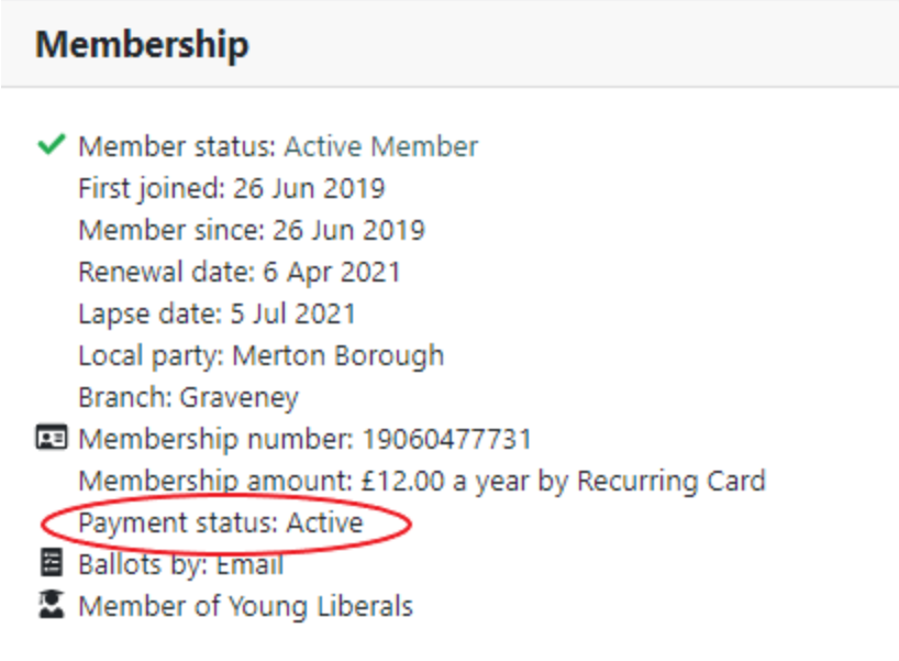 Membership information with payment status: active circled
