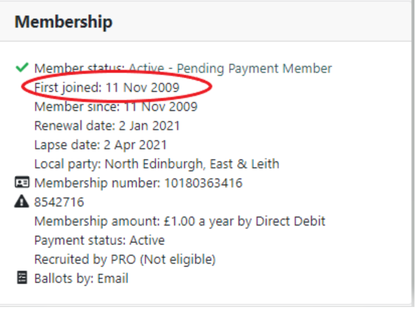Membership information with first joined circled