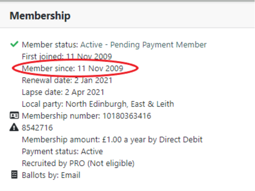 Membership information with membersince circled