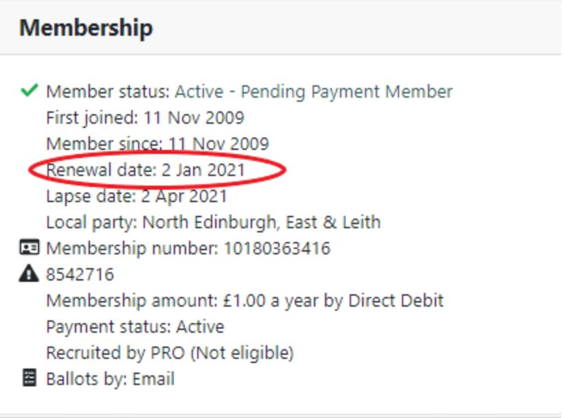 Membership information with renewal date circled