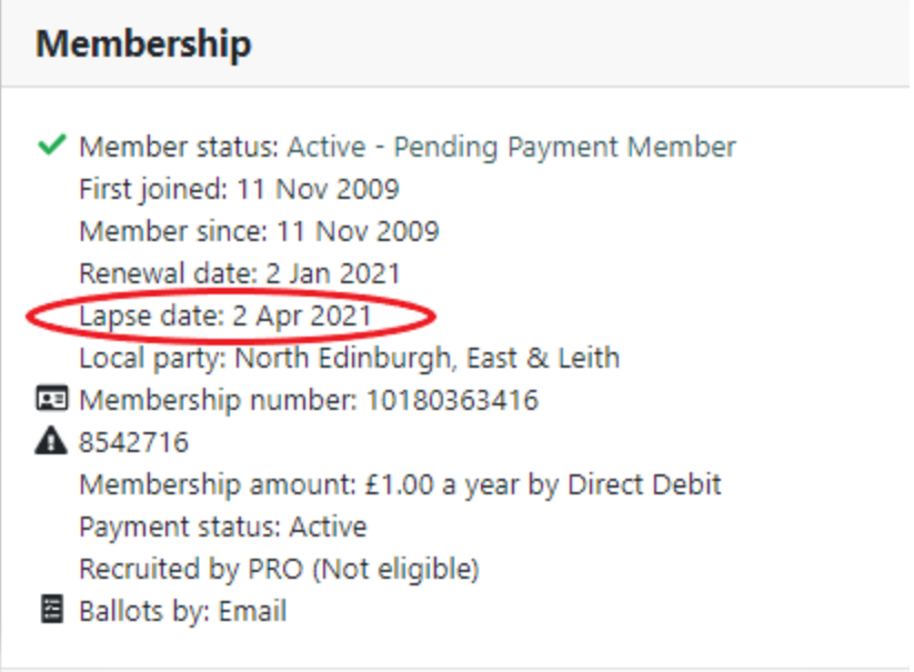 Membership information with lapse date circled