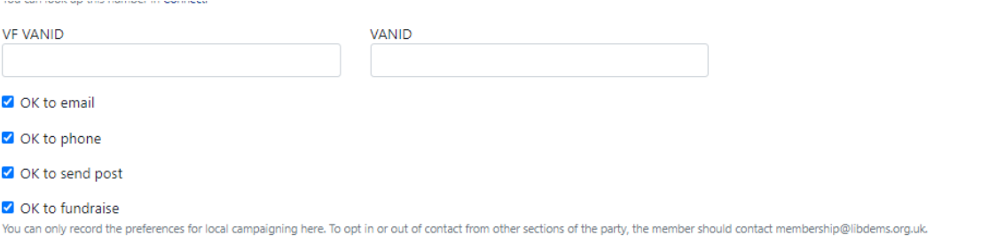 Contact preferences with tick boxes to edit