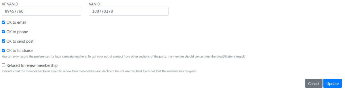 Edit contact page with refused to renew box