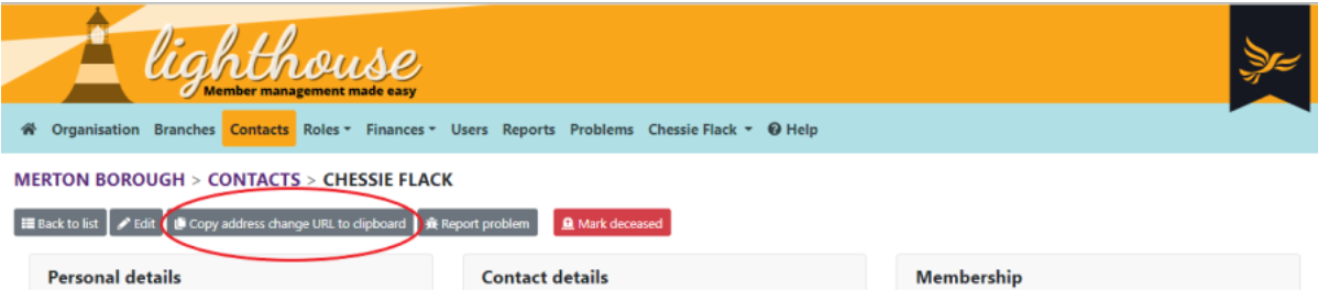 view contact page with copy address change url circled