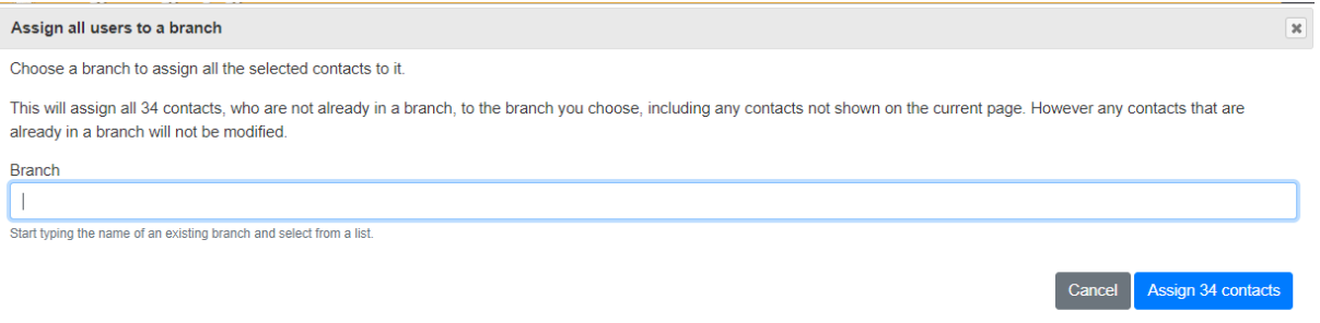 cofnirmation box to assign users to branch