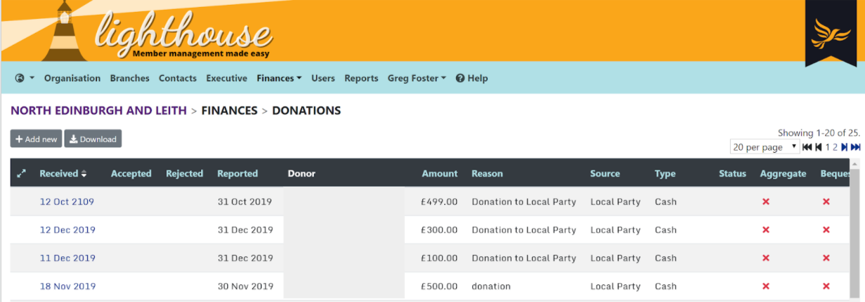 Donation page on Lighthosue with donations listed