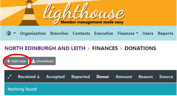 Donations page with add new circled