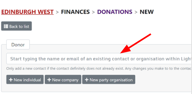 New donation page with an arrow to the donor search box