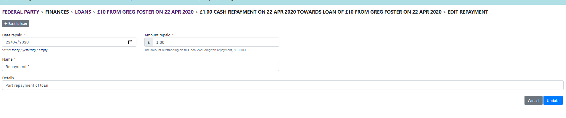 Edit repayment page