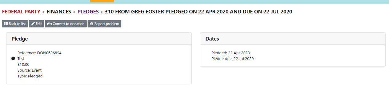 view pledge page with convert to donation
