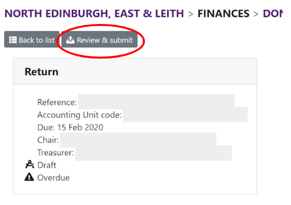 Review donations with review and submit circled