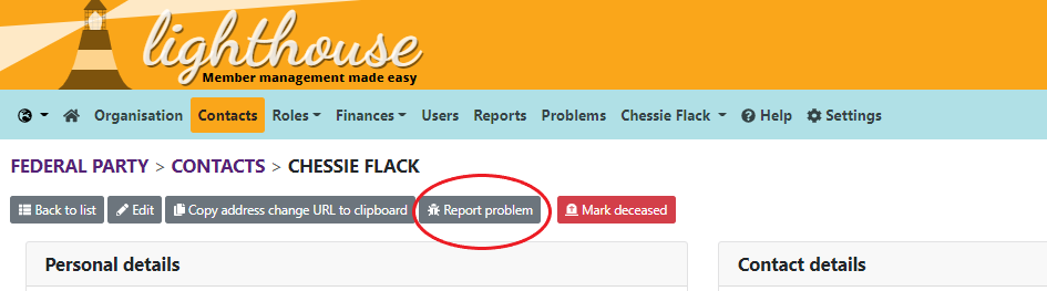View contact page ith report problem circled