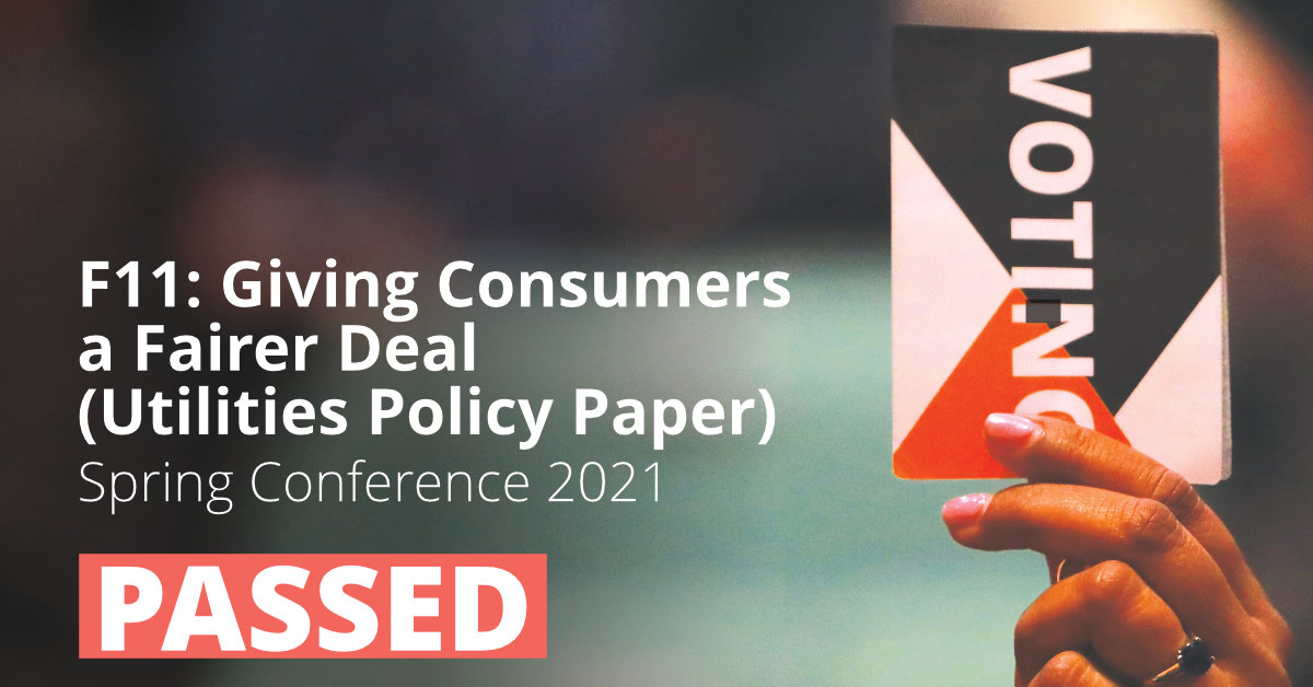 F11: Giving Consumers a Fairer Deal (Utilities Policy Paper)