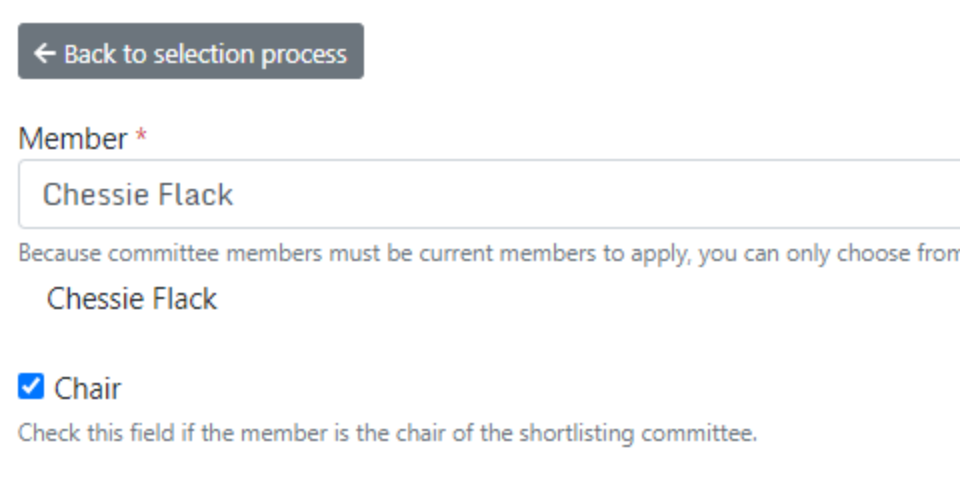 Adding the chair of the shortlisting committee