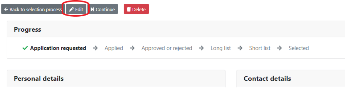 Edit applicant on applicant page