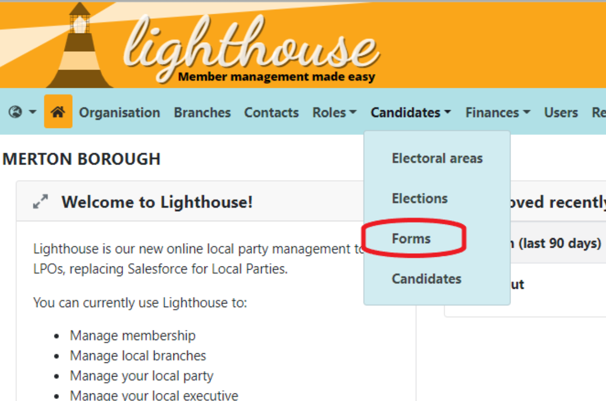 Candidates drop down with Forms circled