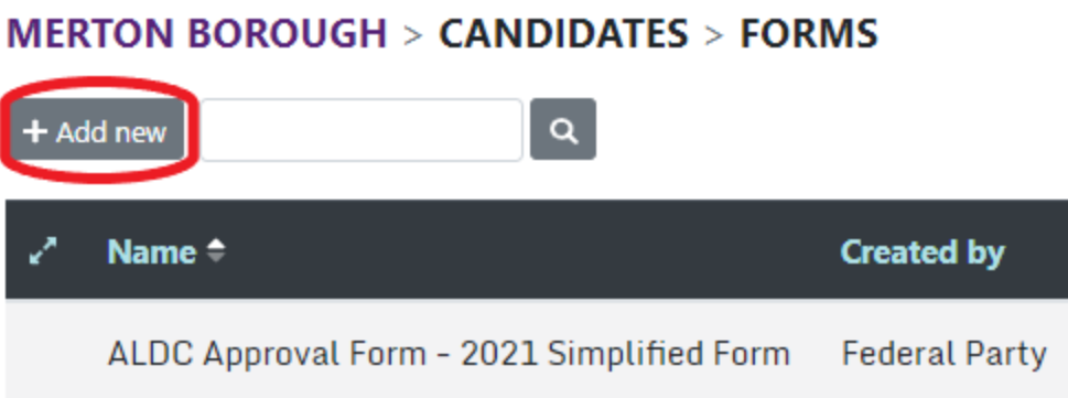 List of selection forms with add new circled