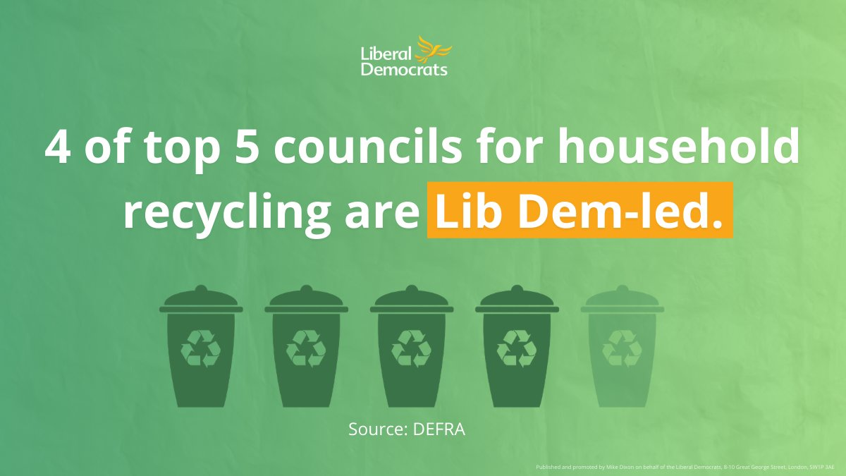 The top councils for recycling are Lib Dem run