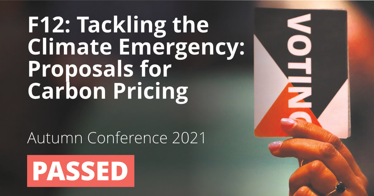 F12: Tackling the Climate Emergency: Proposals for Carbon Pricing (Carbon Pricing Policy Paper)