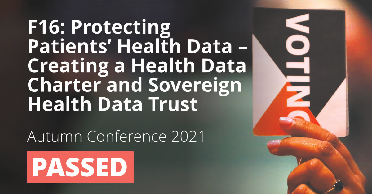 F16: Protecting Patients' Health Data - Creating a Health Data Charter and Sovereign Health Data Trust