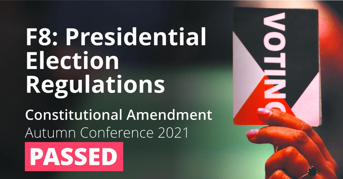 F8 Constitutional amendment: Presidential Election Regulations