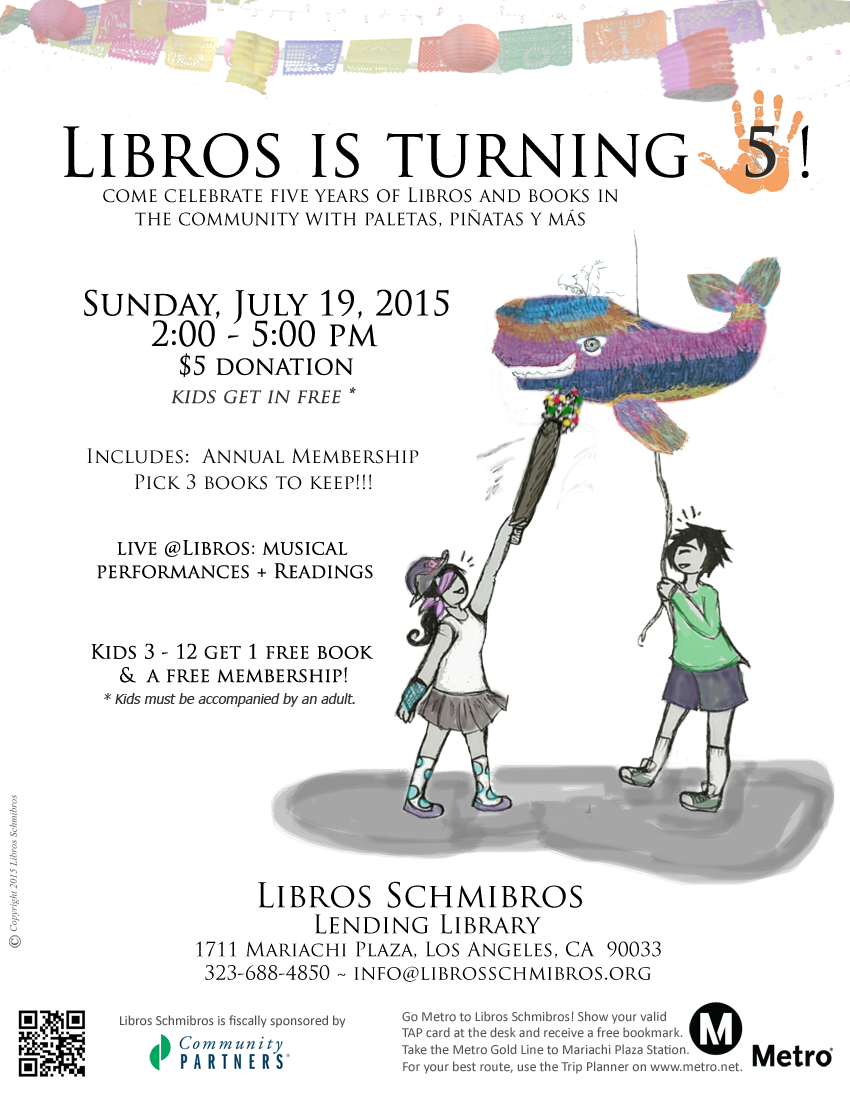 Save the date: Libros 5th Anniversary - July 19 2015 - 2 to 5 PM