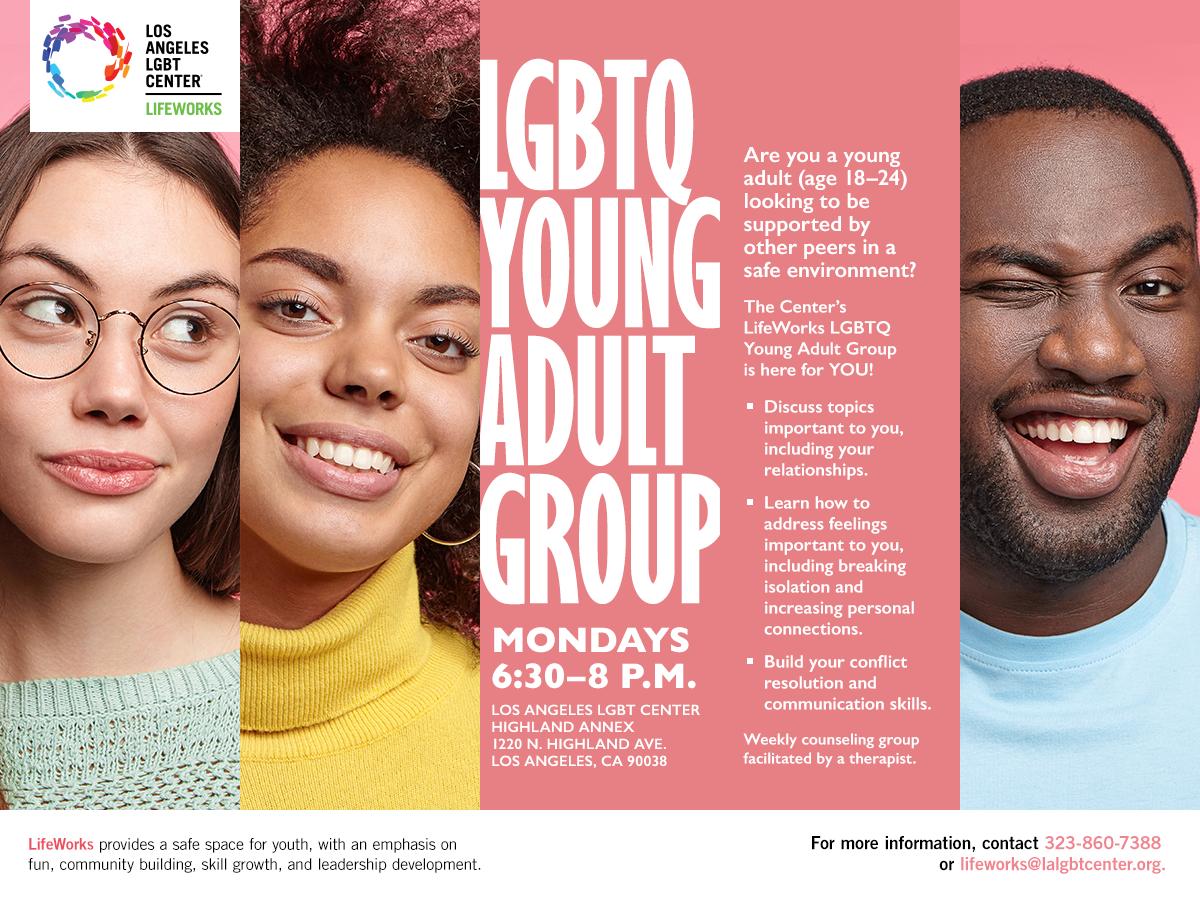 LGBTQ Young Adult Group Mondays 6:30 - 8:30 p.m.