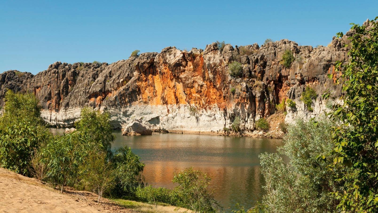 Danggu Geikie Gorge has been carved by the Fitzroy River through part of an ancient limestone barrier reef which snakes across the west Kimberley.