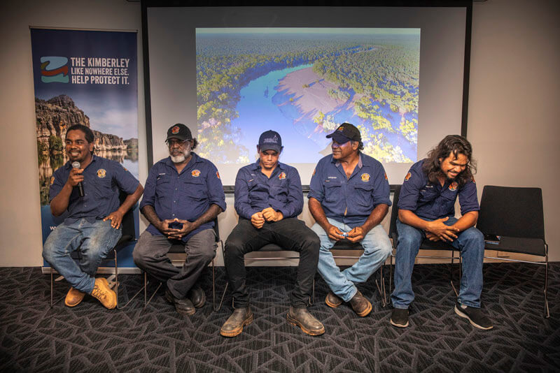 The Nyikina Mangala rangers play a critical role in monitoring and protecting sawfish in the Fitzroy. They are also kept very busy managing feral animals, weeds & wildfires across their country.