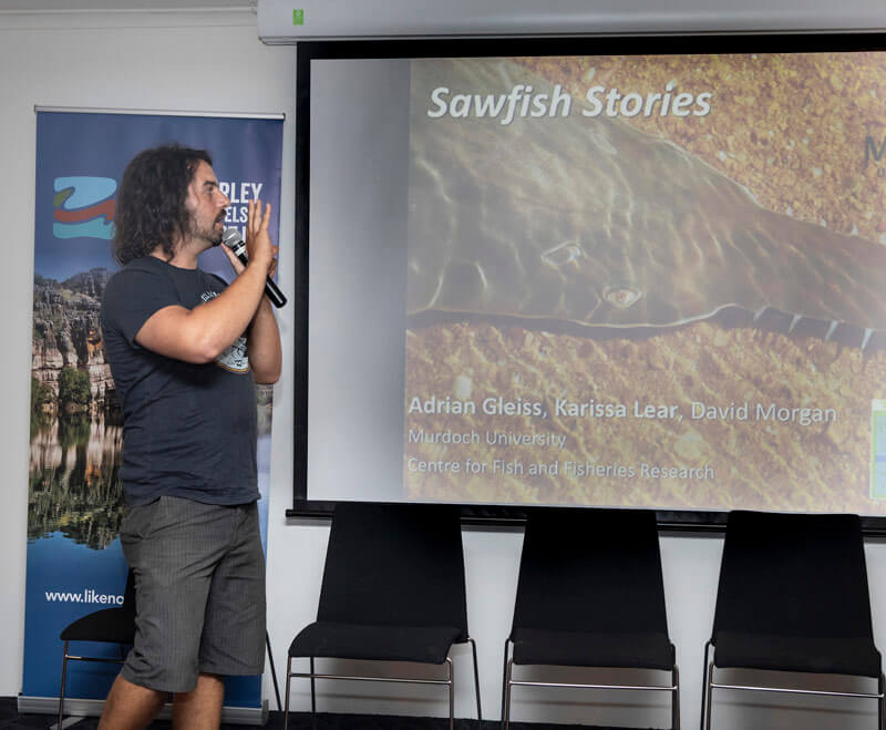 Dr Adrian Gleiss gave an fascinating overview of sawfish, and why the Fitzroy River is particuarly important for the survival of this critically endangered species