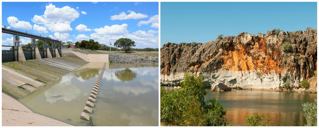 Menindee Weir on the Darling River contrasts with the pristine beauty of Danggu Geikie Gorge