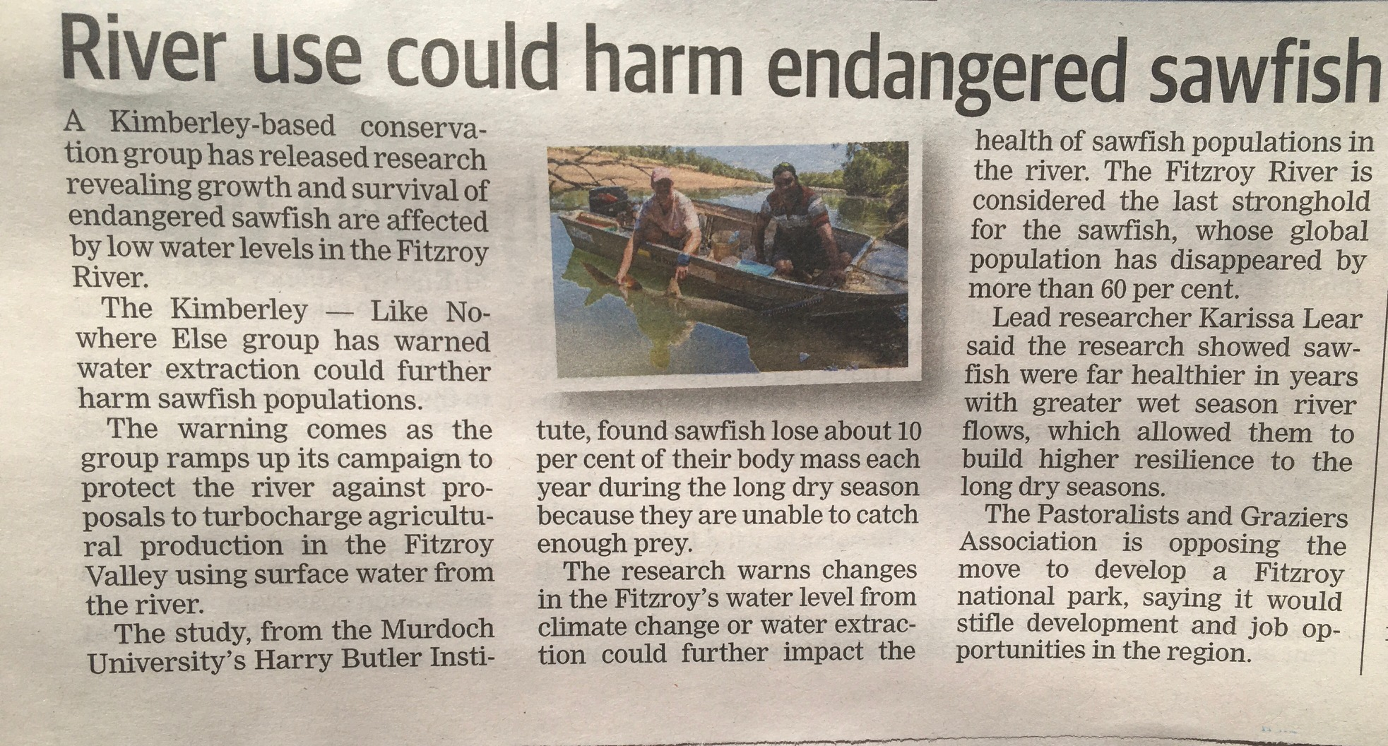 The study was reported in The West Australian on 20 Oct 2020