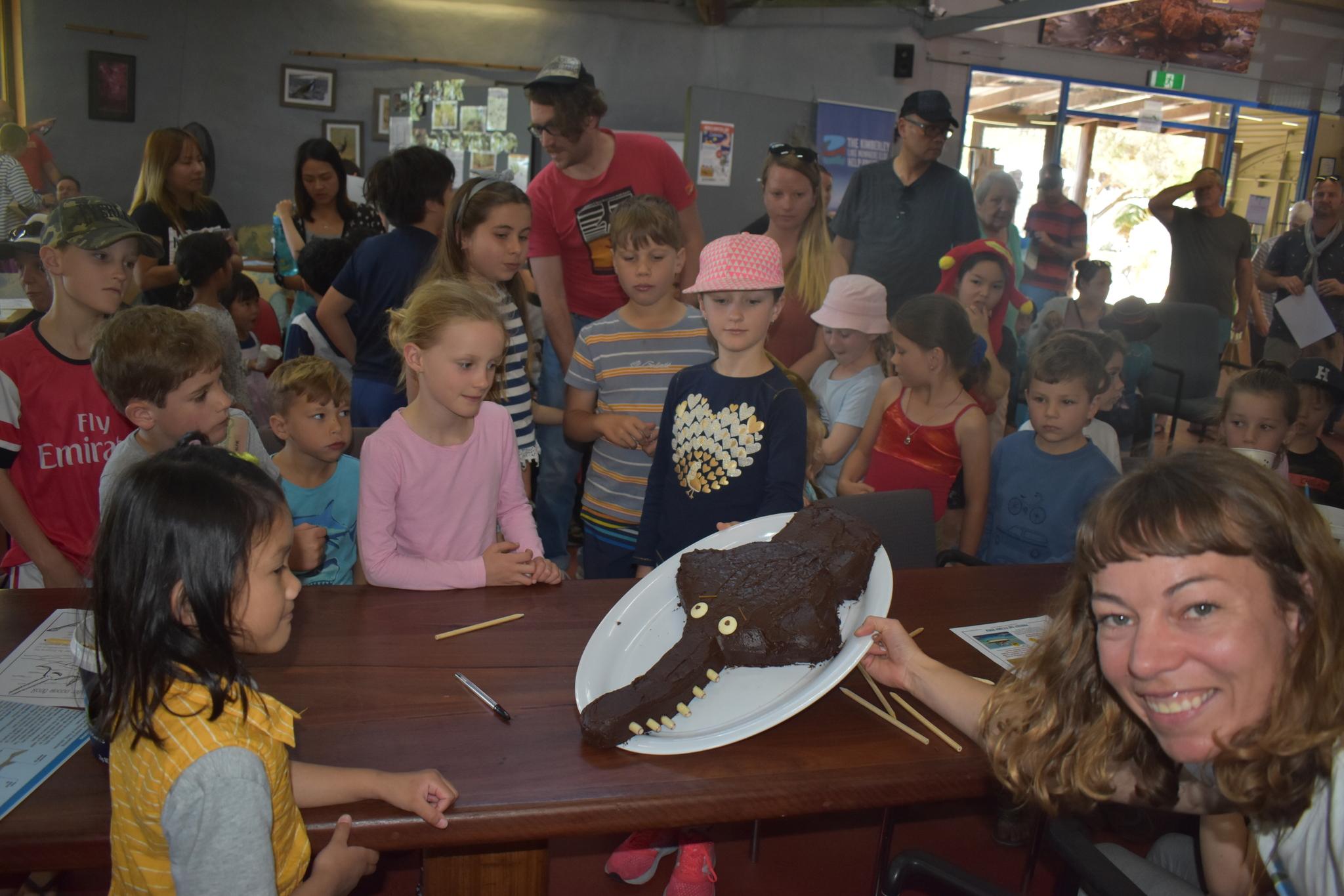 Eying up the sawfish choccy cake