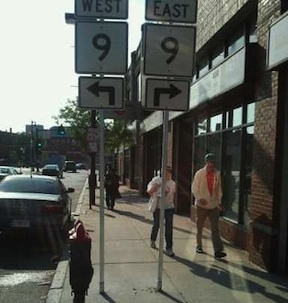 MA Route 9 signs obstructing Tremont St sidewalk