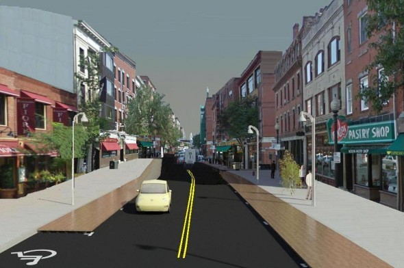 Rendering of Hanover Street with wider sidewalks