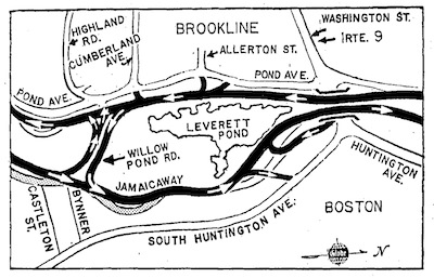 Map showing Jamaicaway highway lanes on either side of ponds