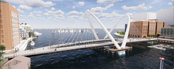 A rendering of the Double Arch concept for the Northern Avenue Bridge
