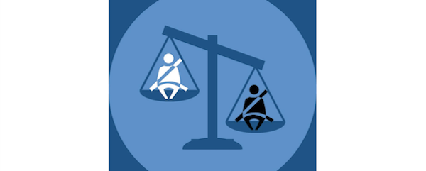 An graphic of scales of justice, each side balancing an icon of a person buckled into a seatbelt. One icon indicates a white person, and is lifted high up; the other indicates a Black person, and is dropped farther down.