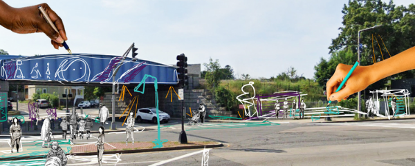 An image of an intersection with a bridge crossing the road on the left; two hands are superimposed over the photo, both holding drawing implements, and there have been bus stops, street lights, crosswalks, and other infrastructure doodled in useful places around the photo.