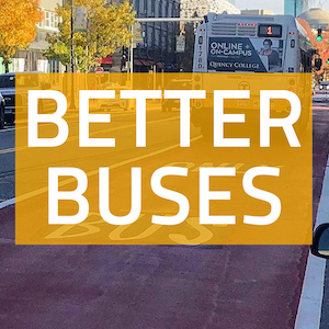 "A square button with a photo of a bus and the words ""Better Buses"" written on an orange background"