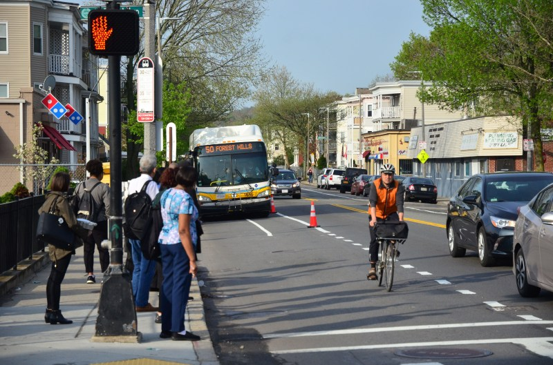 People stand at a bus stop looking at a #50 bus as it approaches. A person rides a bike in the temporary bus-bike lane that has been created with orange cones, while cars travel in the vehicle lane beside it.