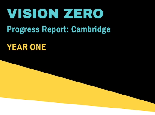 The top of the cover of the City of Cambridge Year One Progress Report from the Vision Zero Coalition