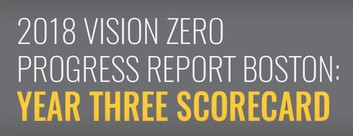 The top of the 2018 Vision Zero Progress Report Boston: Year Three Scorecard