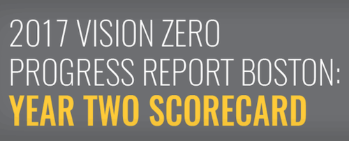 The top of the 2017 Vision Zero Progress Report Boston: Year Two Scorecard