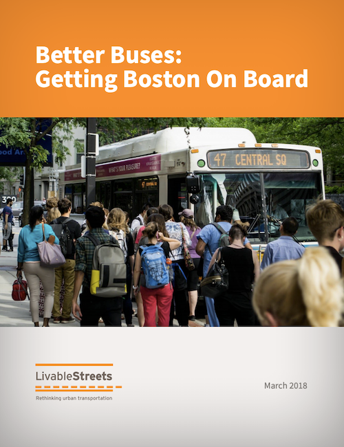 The cover of the Better Buses report, with a photo showing a line of people waiting to board the 47 bus to Central Square