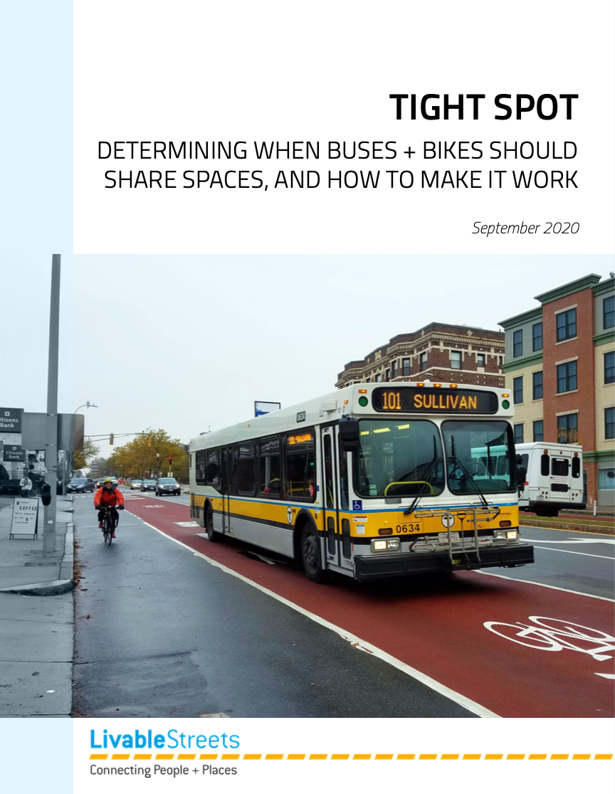 The cover of the Go Boston 2030 report, with a photo showing people walking and biking along a street in Boston